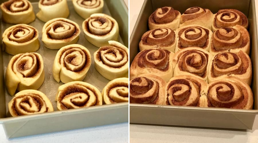 photo comparison of cinnamon buns before and after cooking
