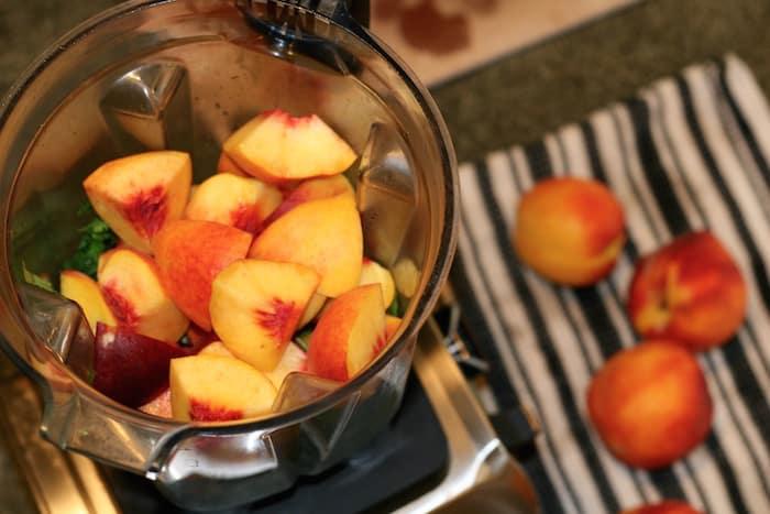 making fresh peach salsa in a Vitamix