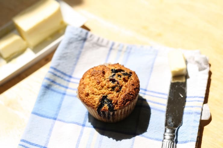 Coconut Flour And Einkorn Flour blueberry muffins