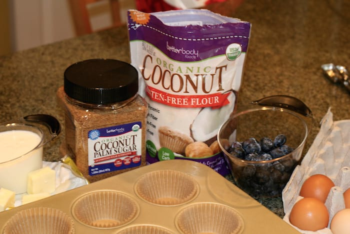 ingredients from Better Body Foods to help make Einkorn Flour blueberry muffins