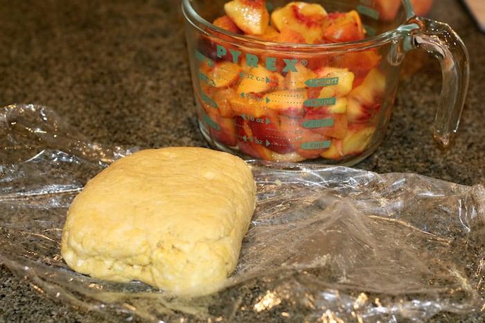 preparing peach galette ingredients