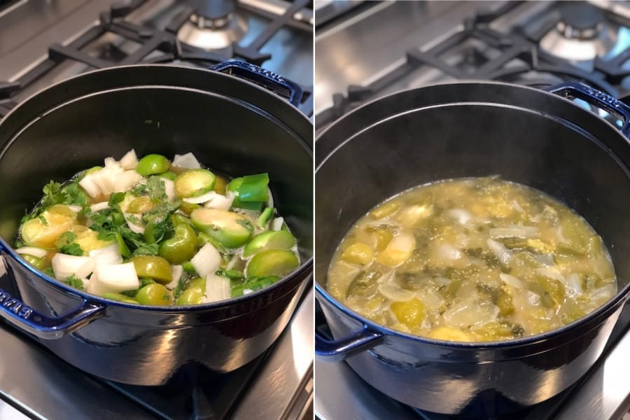 side by side camparison of cooking down green chiles and onions