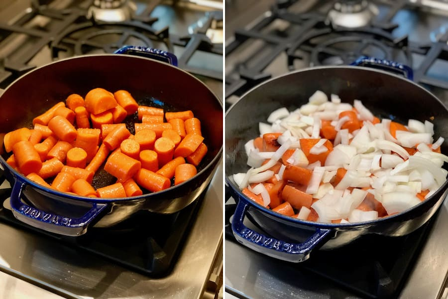 side by side comparison cooking carrots down with and without onions