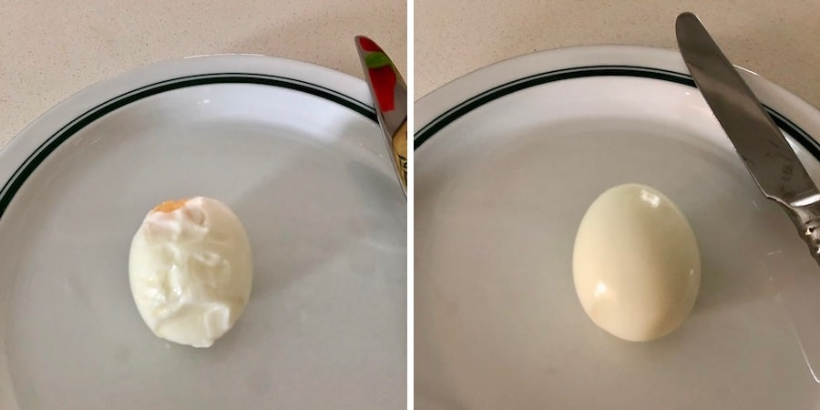 if you add a little salt and vinegar to your boiling eggs the shells will peel off much easier