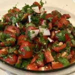 finished tomato cilantro radish salad in bowl