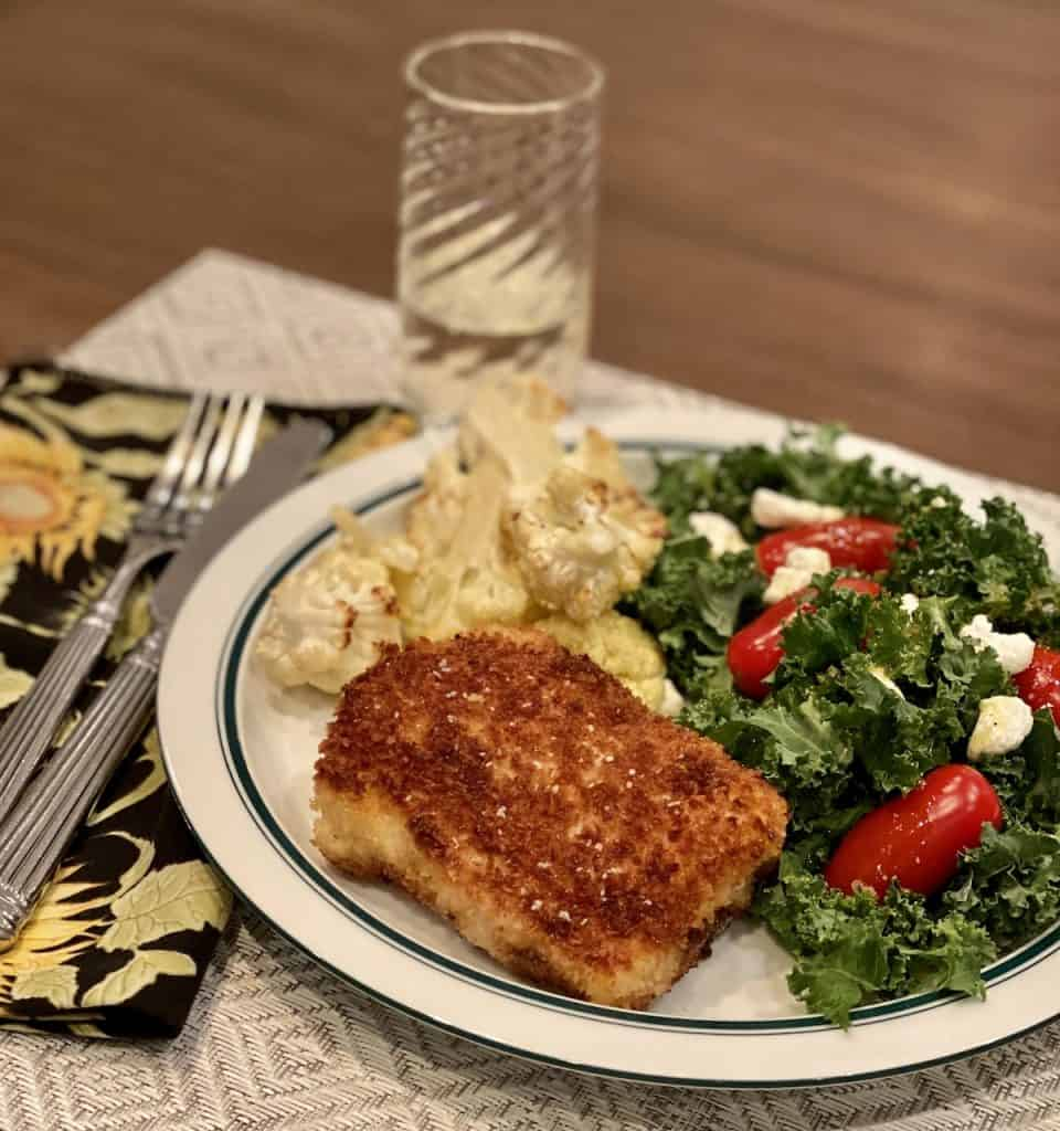 lightly breaded and pan fried halibut
