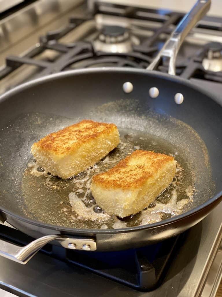 pan frying breaded sea bass fillets