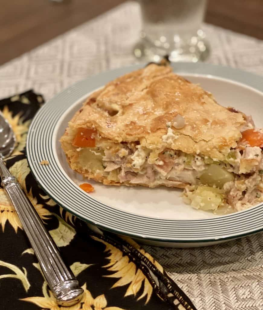 piece of homemade cast iron pan pot pie