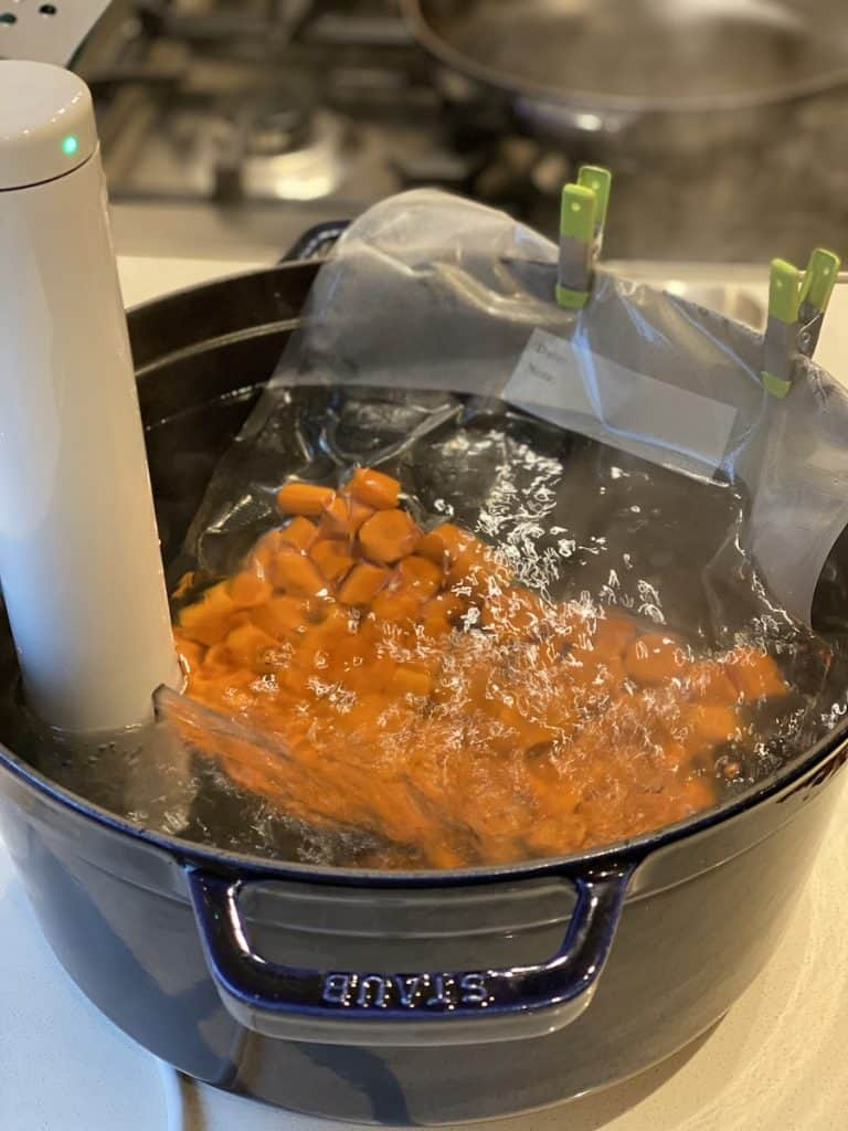 sous vide carrots in process